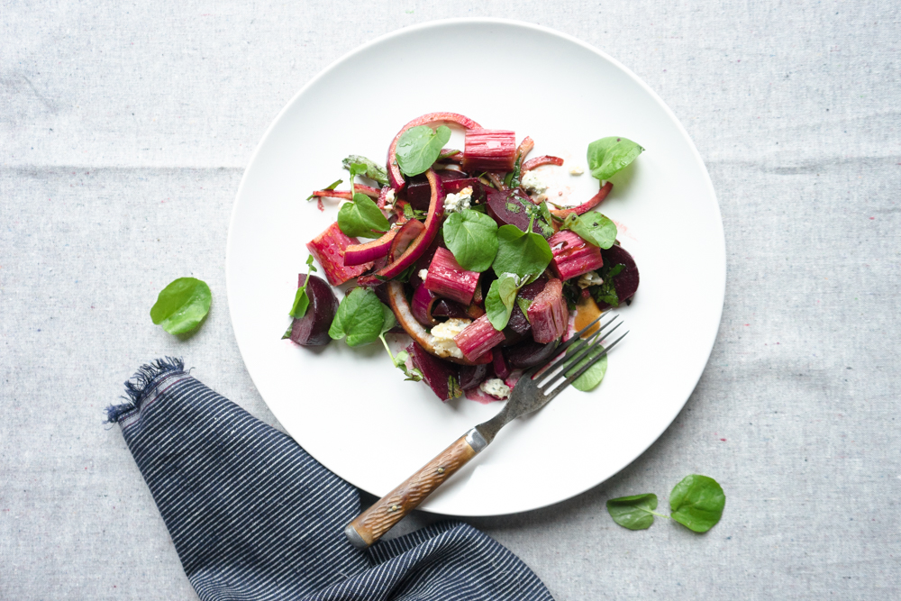 beet and roasted rhubarb salad + cress and blue cheese | TENDING the ...