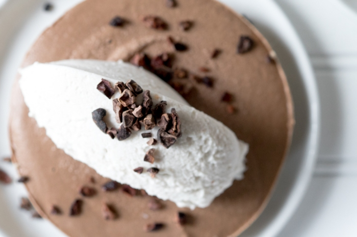 Chocolate Mousse Tarts with Cinnamon Coconut Whipped Cream