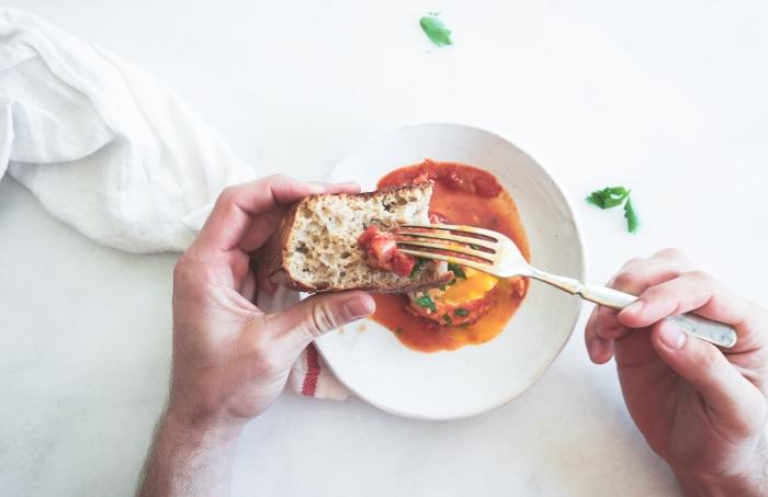 Tomato and Feta Baked Eggs || TENDING the TABLE