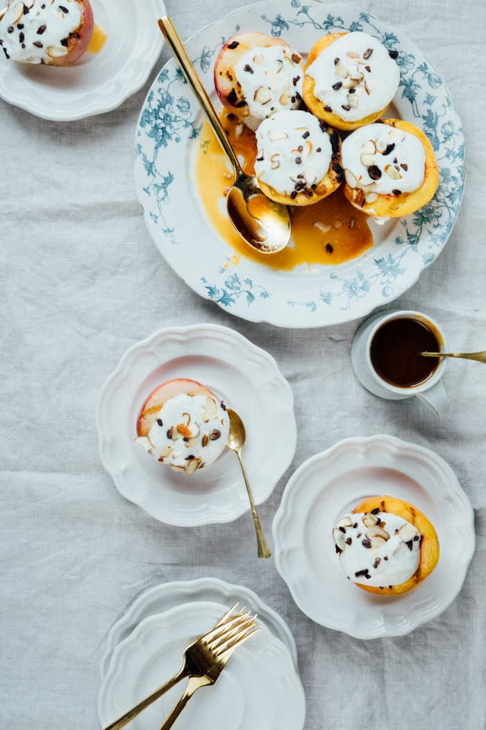 Grilled Peaches + Vanilla Sour Cream + Orange Whiskey Caramel | TENDING the TABLE