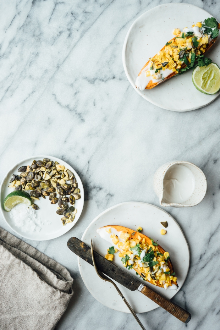 Baked Sweet Potatoes with Charred Corn and Coconut Lime Cream | TENDING the TABLE