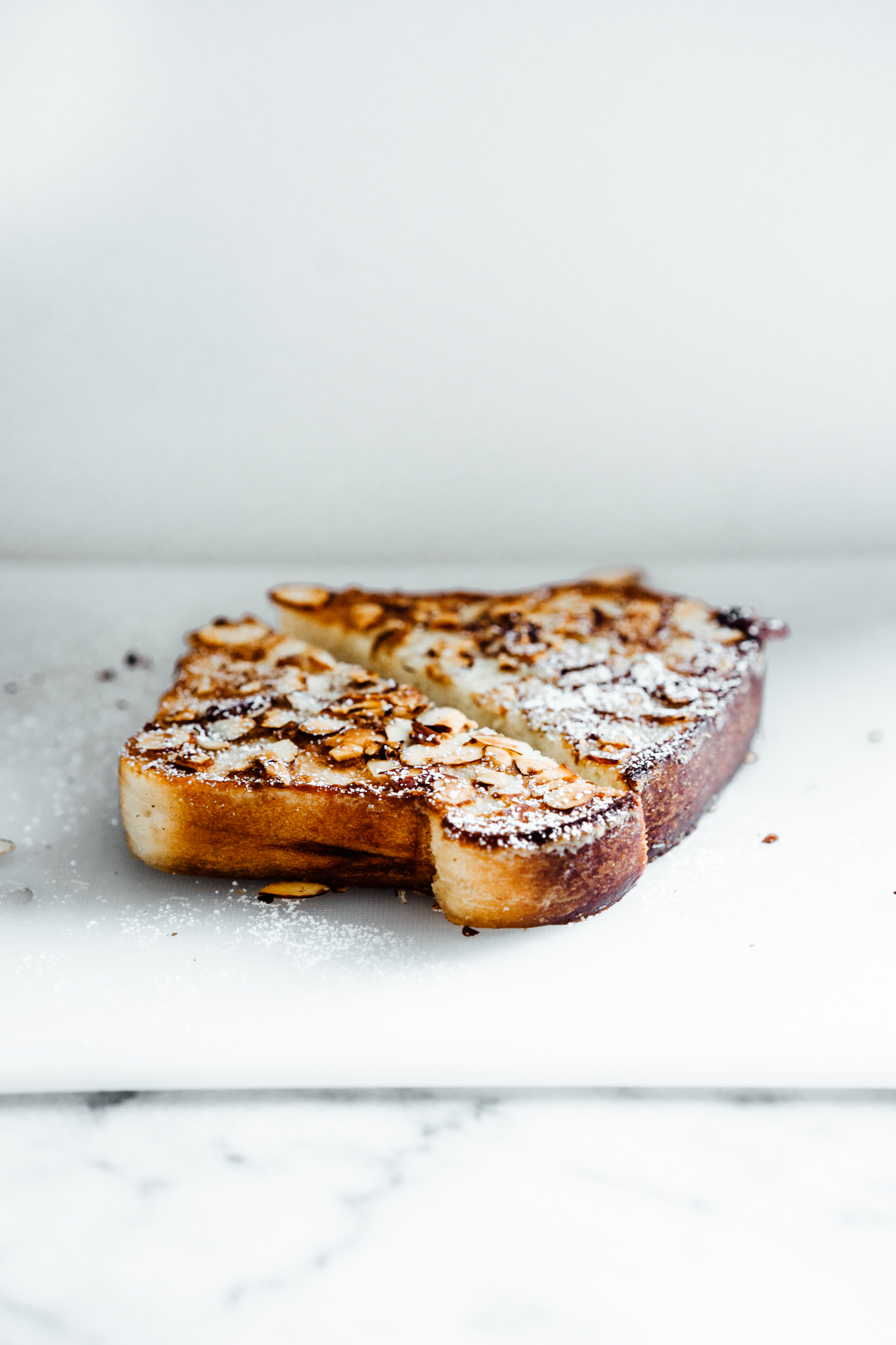 Coconut Almond Brioche French Toast with Hibiscus Poached Rhubarb | TENDING the TABLE