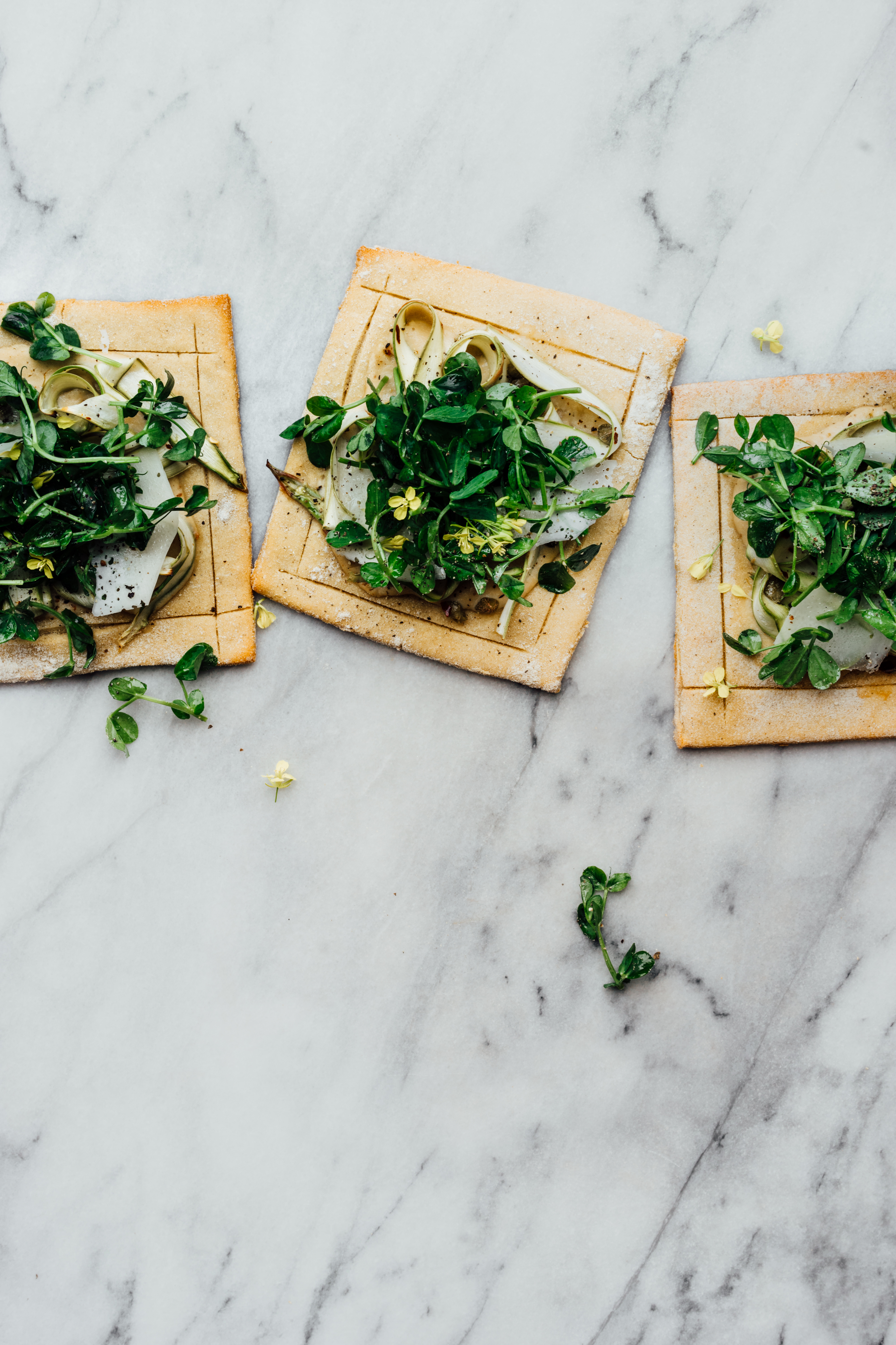 Lindsey's Chickpea Pizza with Asparagus and Pea Shoot Tangle | TENDING the TABLE