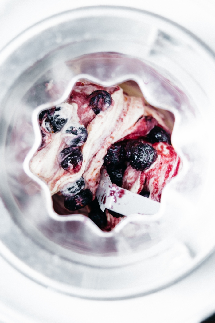 Creme Fraiche Ice Cream with Lilac and Blueberries | TENDING the TABLE