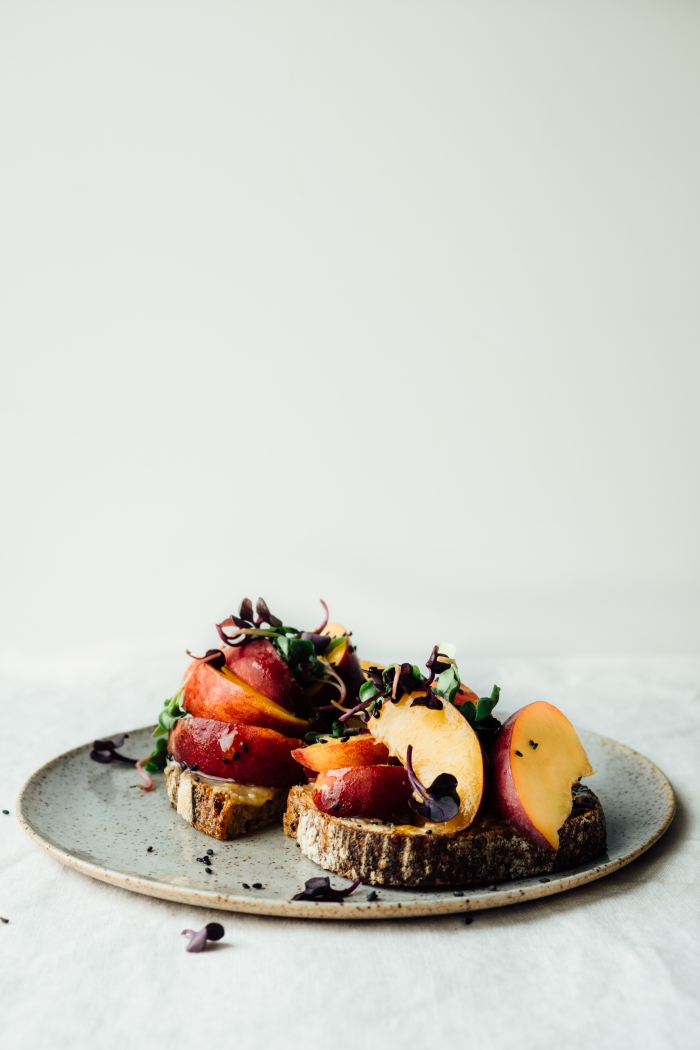 Toast with Peaches, Tahini and Honey | TENDING the TABLE