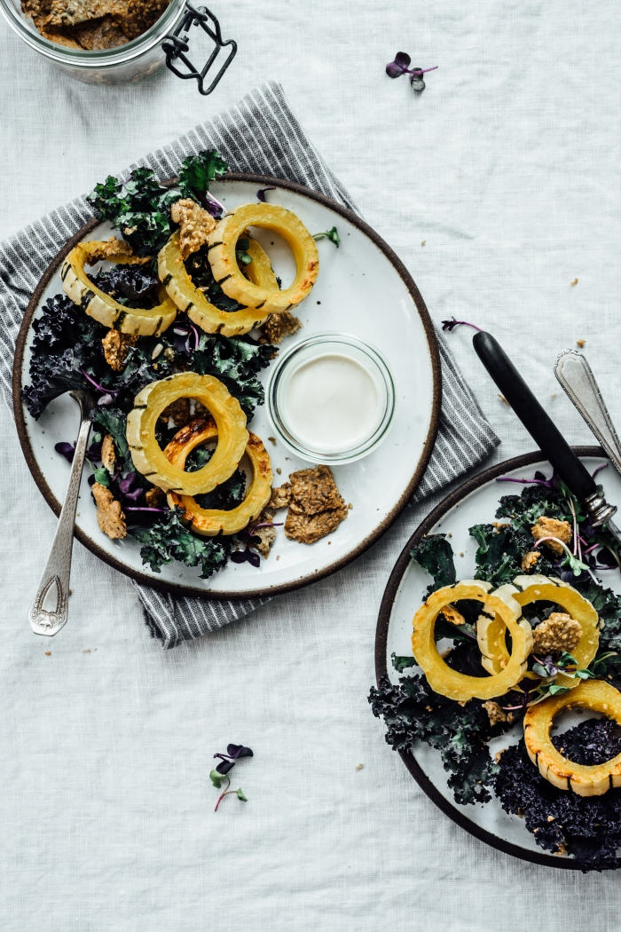 Roasted Squash Salad with Sesame Crisps and Creamy Miso Dressing | TENDING the TABLE
